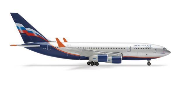 Коллекционная модель л 509886 Самолёт Aeroflot Ilyushin IL-96-300 1:500.  Длина - 14 см. Модель выполнена из металла...